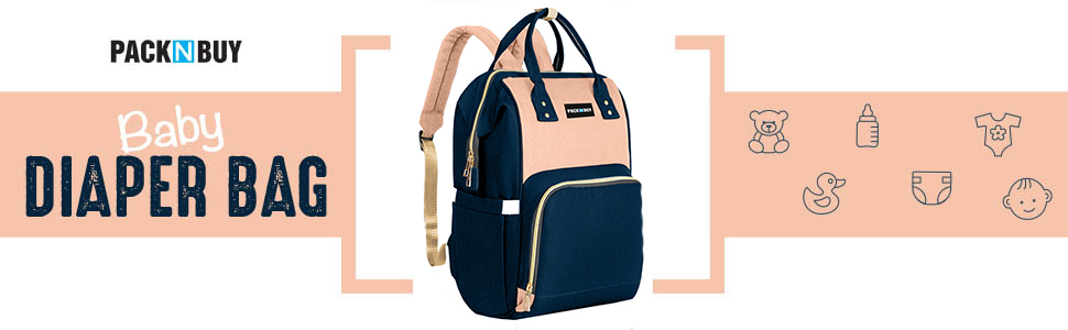 PACKNBUY Diaper Bag Backpack Baby Mother Maternity Travel (Blue Pink) Easy to Carry Baby Maternity