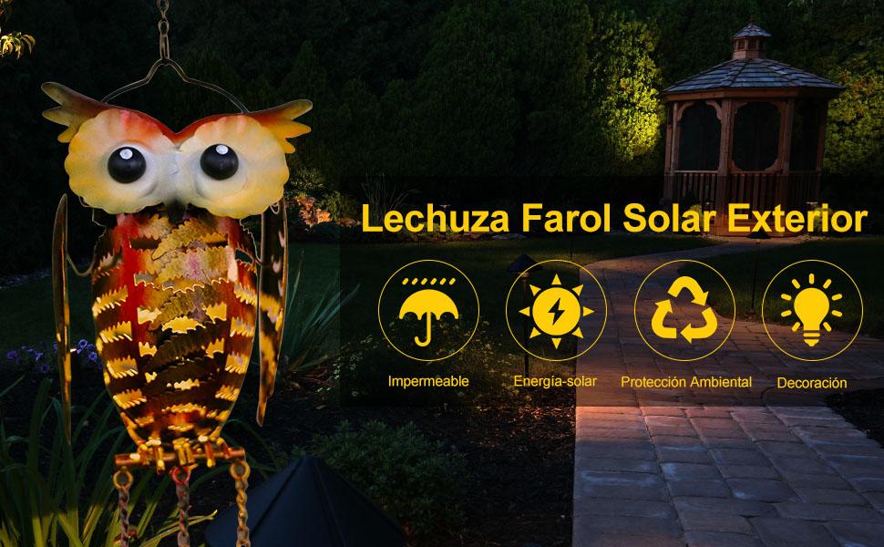Farol Solar Exterior, Infankey Lechuza Lámpara Solar Exterior ...