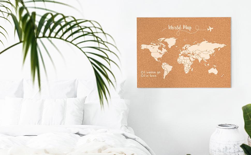 Decowood - Mapa Mundi de Corcho, Pequeño, para Marcar Tus Viajes por el Mundo y Colgar en la Pared, Rosa Coral - 60x45cm: Amazon.es: Hogar