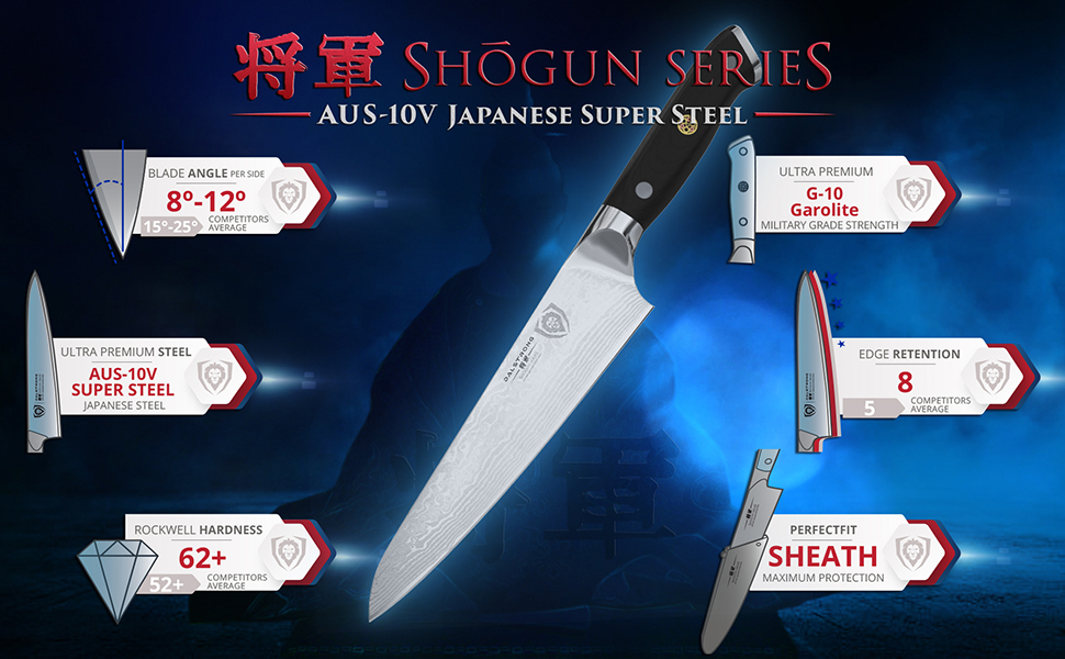 shogun series japanese super steel g-10 garolit sheath 62+ rockwell aus-10v dalstrong