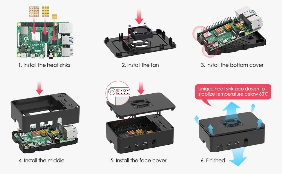 TICTID Raspberry Pi 4 Modelo B 4GB Kit, Versión Actualizada de Raspberry pi 3 con Tarjeta MicroSD de 32GB, Adaptador tipoC 5V 3A con Interruptor, Ventilador, Estuche y Lector de Tarjetas, etc: