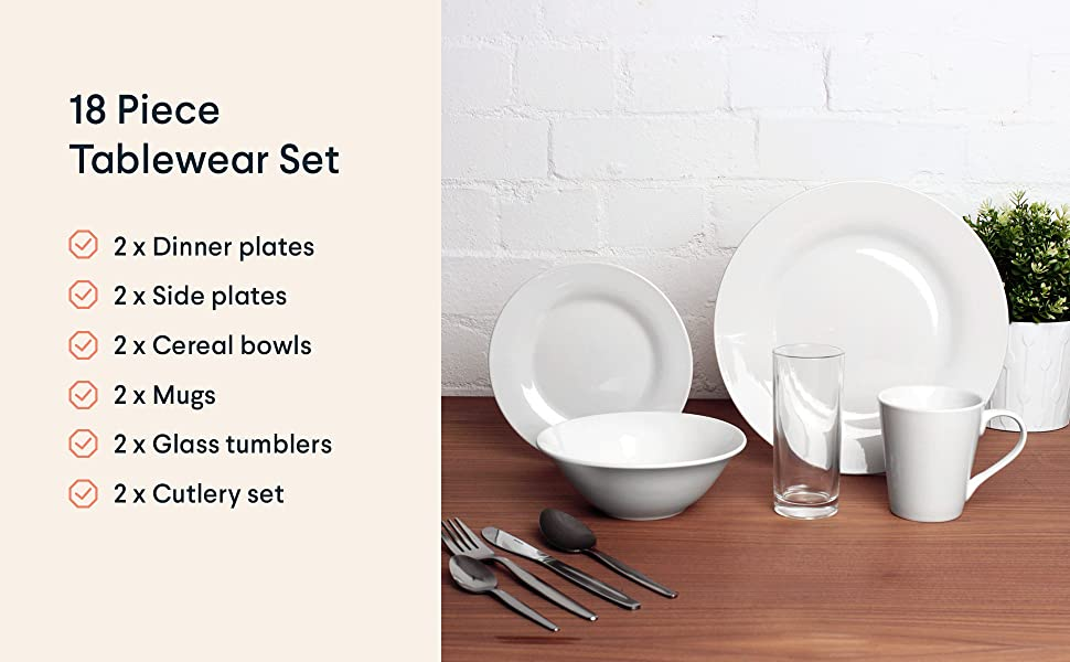 tableware dinnerware crockery cutlery glasses bowls mugs plates set kit bundle pack