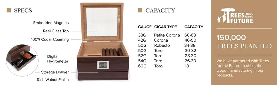 Hydro tray system humidor 25 50 sealed humidity wooden candor winder humidifier handmade capacity