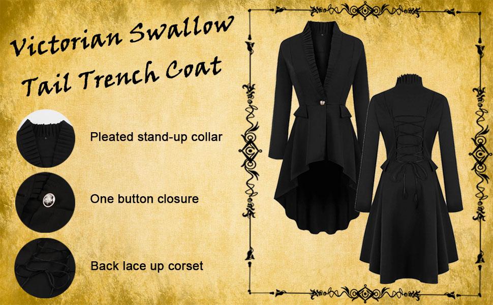 lace up corset coat high low hem trench coat Tuxedo Gothic Tailcoat Jacket Halloween Costume