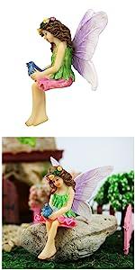 fairy garden miniature fairies girl sitting outdoor indoor tiny small bird animal
