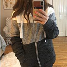 Newbestyle Women's Casual Color Block Zip Up Hoodie Jacket with Pocket