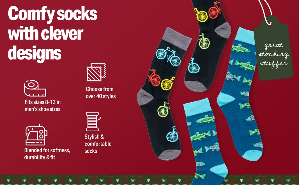 Comfy socks with clever designs; fits mens shoe sizes 8-13; perfect gift