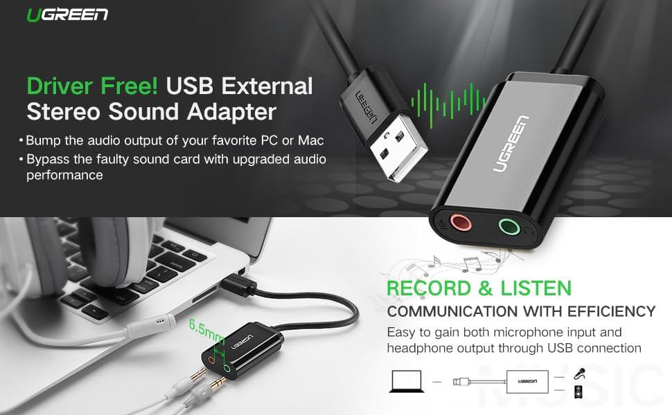 UGREEN USB to Audio Mic Adapter, USB External Stereo Audio Splitter for 3.5mm Stereo Headphone