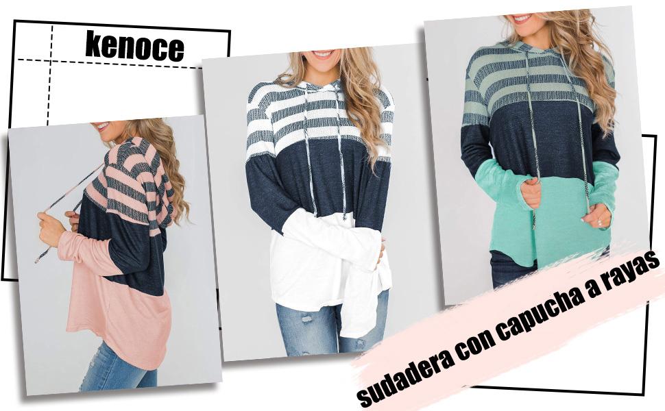 Sudaderas con capucha con cordón a rayas de bloque de color casual para mujer Sudaderas con capucha