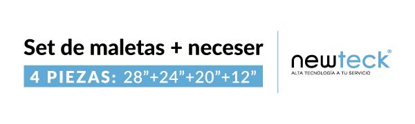NEWTECK - Juego Maletas y Neceser 4pzs, Grande 49x29,5x75cm ...
