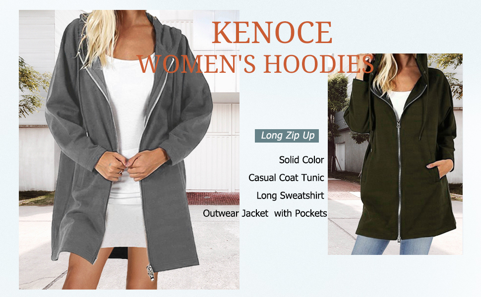 Black Women Solid Color Casual Loose Sweatshirts Zipper Hoodie Coat Long Jacket Outerwear with Pockets Size L