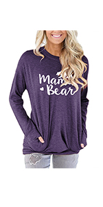 onlypuff Loose Fit Pocket Shirt for Women Cute Mama Bear amp; Printed Tunic Tops Round Neck