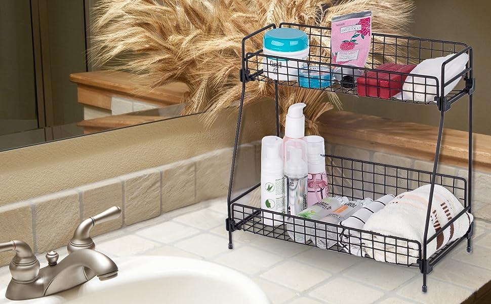 zengest 2-Tier Wire Basket Countertop Shelf