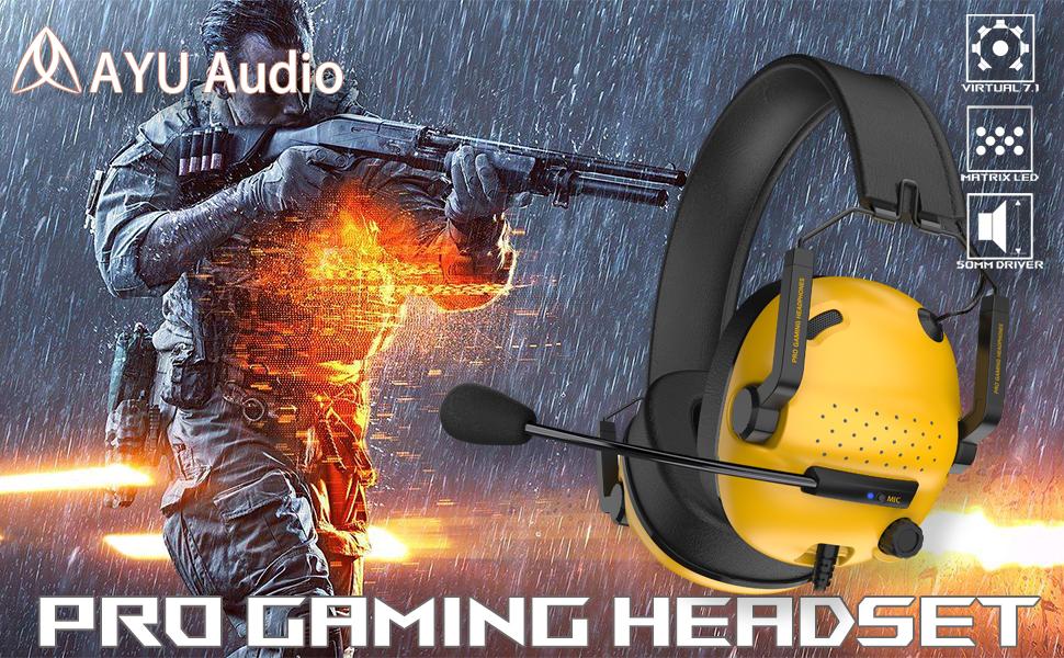 usb headset 7.1 headphone yellow