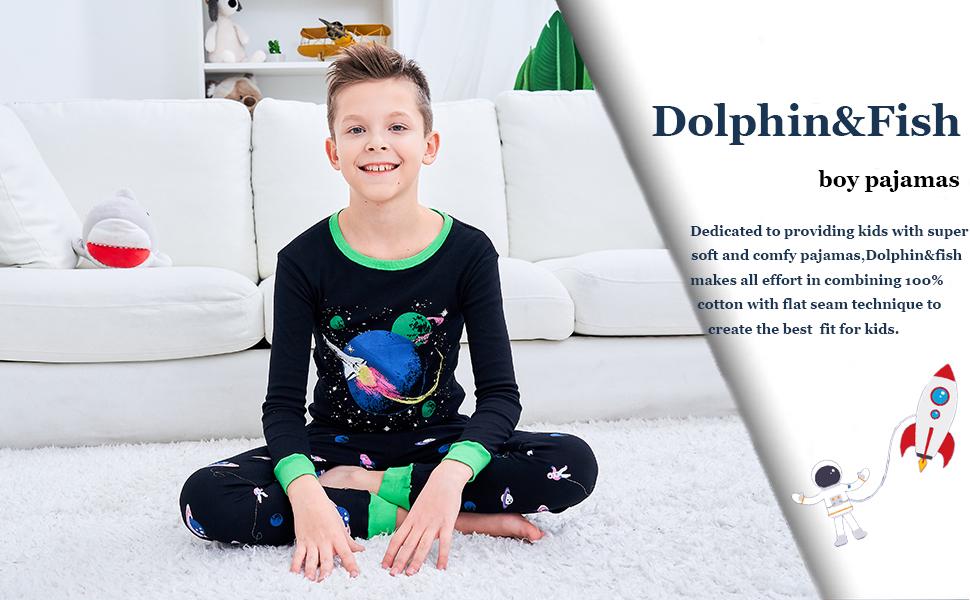 Dolphin/&Fish Boys Pajamas Little Toddler Pjs Sets 100/% Cotton Kids Clothes Sleepwears