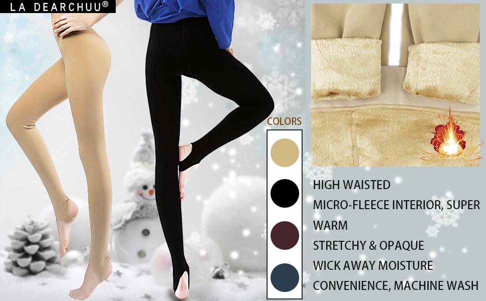 Winter Leggings Womens Warm Fleece Lined Leggings Soft Stretchy Leggings Thick Thermal Leggings