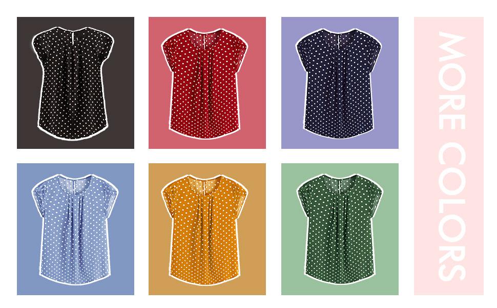 Milumia Women's Elegant Polka Dots Print Cap Sleeve Keyhole Back Work Blouse Top
