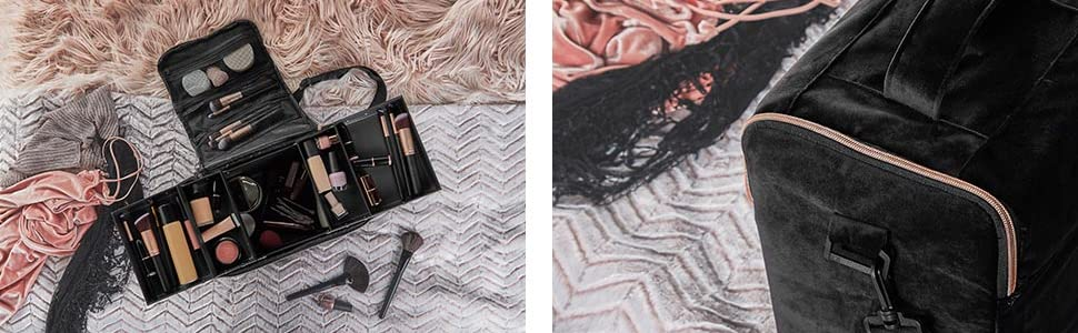 beautiy black beauty make up vanity case travel toiletries cosmetics box rose gold gift