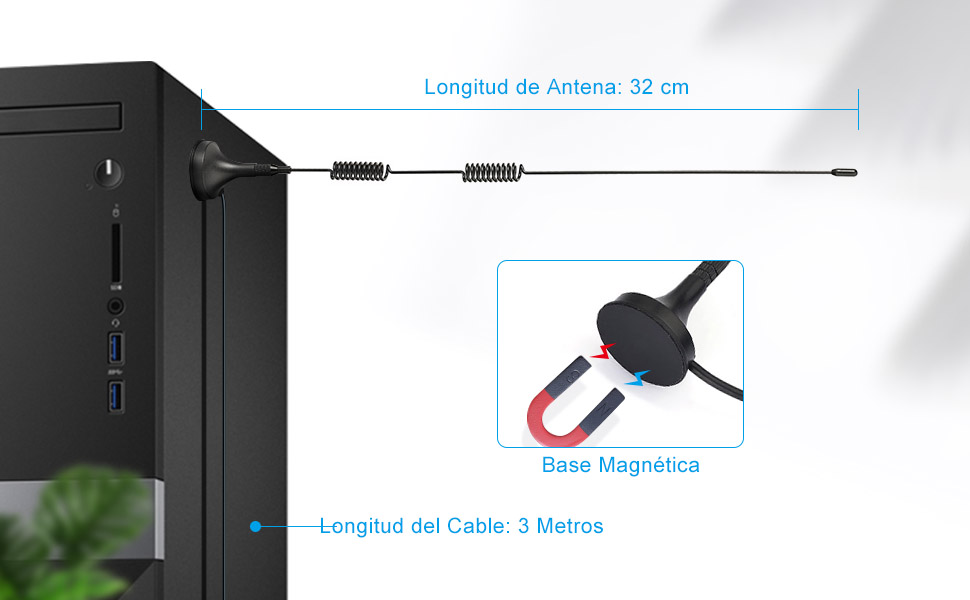 Bingfu Antena FM Dab Interior Base Magnética 3 Conectores Antena FM Digital para Sony Denon Pioneer Onkyo Yamaha Marantz Sherwood Radio FM Receptor de ...
