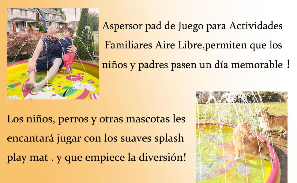 Peradix Splash Pad 170CM Tapete de Agua 2 en 1 Chapoteo Almohadilla Aspersor de Juego PVC Salpica *10 Fichas de Jueg Agua para Actividades Juegos Aire Libre para Niños Familiares/Playa/Jardín: Amazon.es: Juguetes