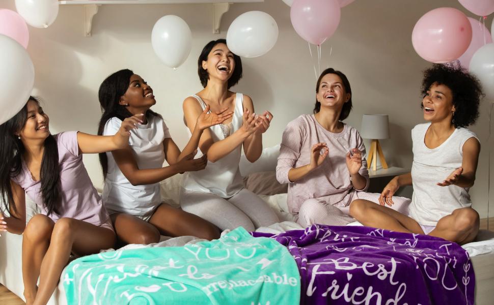 sleepover party supplies slumber blankets throws purple teal gifts teens girls friends besties bff