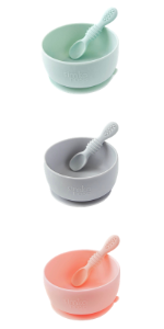 Simka rose silicone suction bowl and spoon set modern baby led weaning colorful baby shower gift