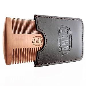 Peine para barba ultraligero de madera de peral de Camden Barbershop Company ○ estuche incluido ○ para el cuidado diario de la barba ○: Amazon.es: Belleza