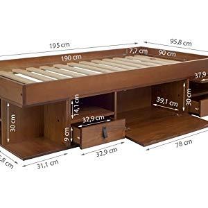Memomad Cama Funcional Bali 140x200 cm - Estructura con Mucho Espacio de almacenaje y cajones, Ideal para dormitorios pequeños - Cama de Madera Maciza ...