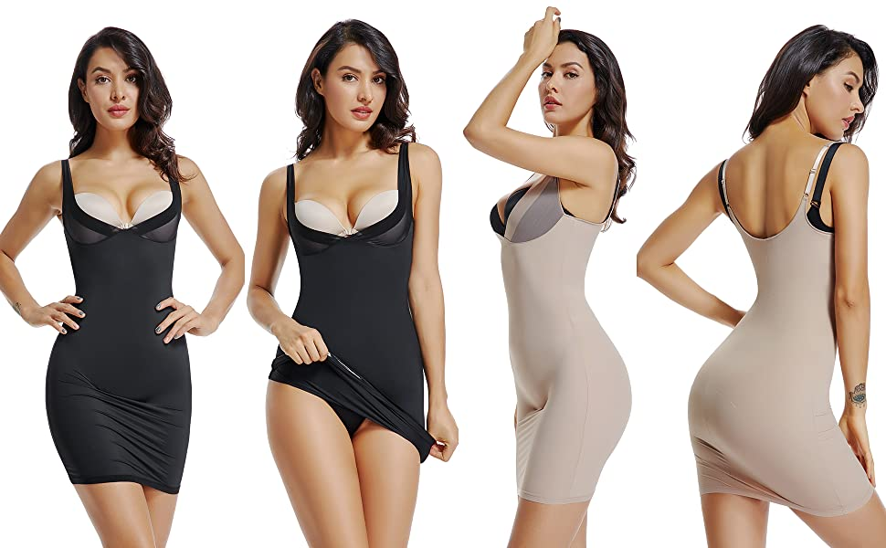 WOWENY Full Slips for Women Under Dresses Open Bust Shapewear Bodysuit Slimming Body Shaper Camisole
