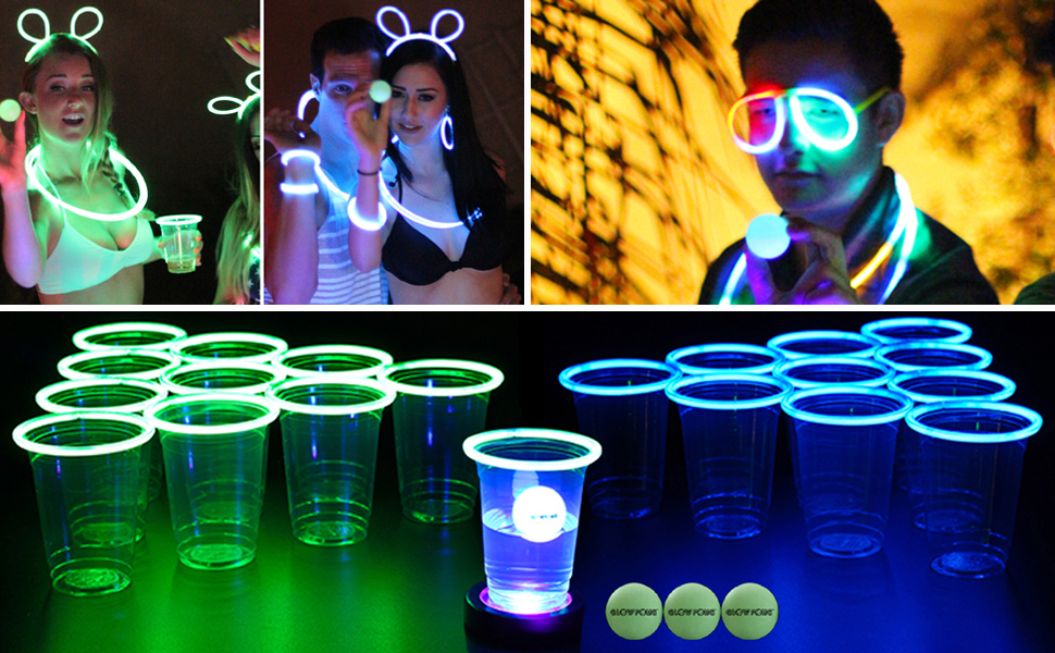 ping pong balls glowing nighttime fun party game board game quarters flip cup glow party dance party
