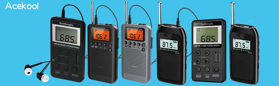 Radio De Bolsillo Portátil LCD Pantalla Digital Soporte Tarjeta TF ...