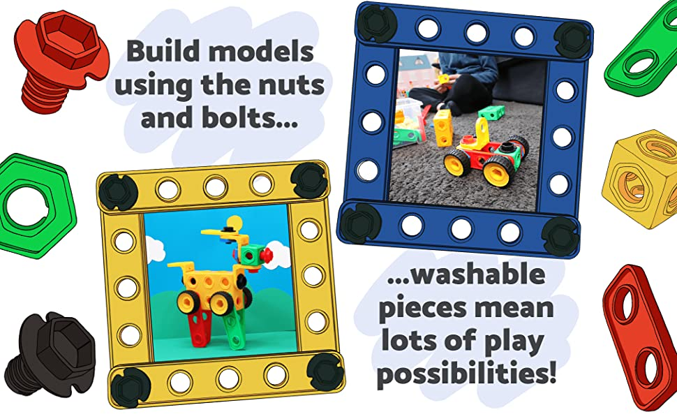 nuts and bolts stem toy to engage stem learning toys, learn through fun, learn through stem