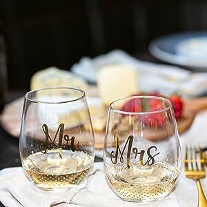Christmas Wine Glass \u201cFirst Christmas as Mr and Mrs.\u201d