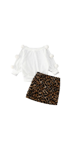 Pompom Leopard Skirt Set