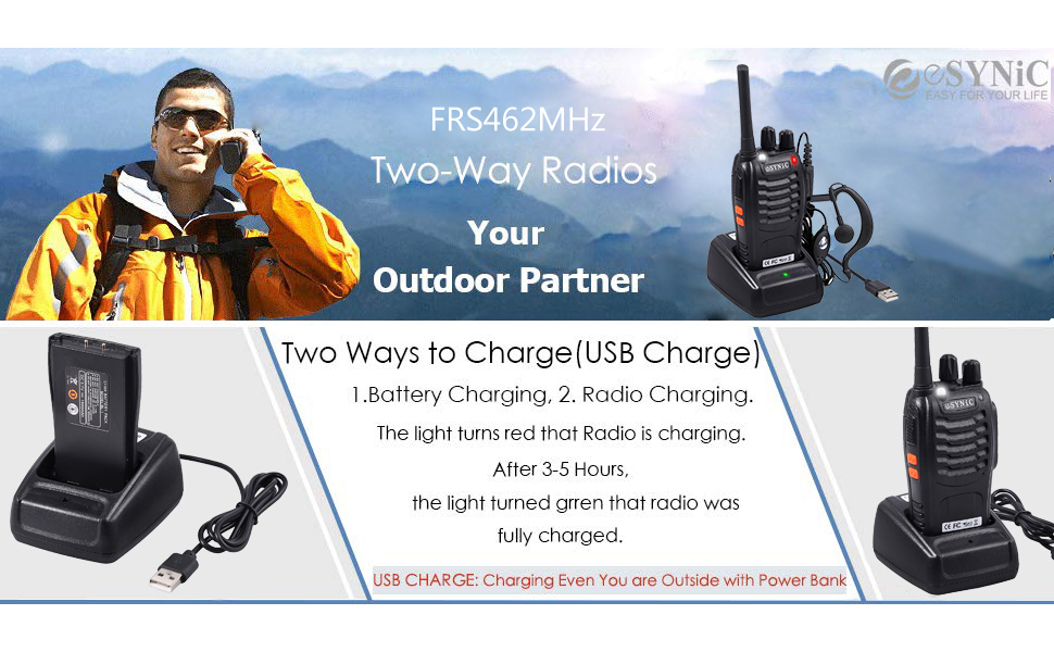 eSynic Rechargeable Walkie Talkie 1 pcs Long Range Two-Way Radio USB Cable Charging FRS462MHz Walky Talky with Earpieces Flashlight 16CH Single Band FM Handheld Transceiver