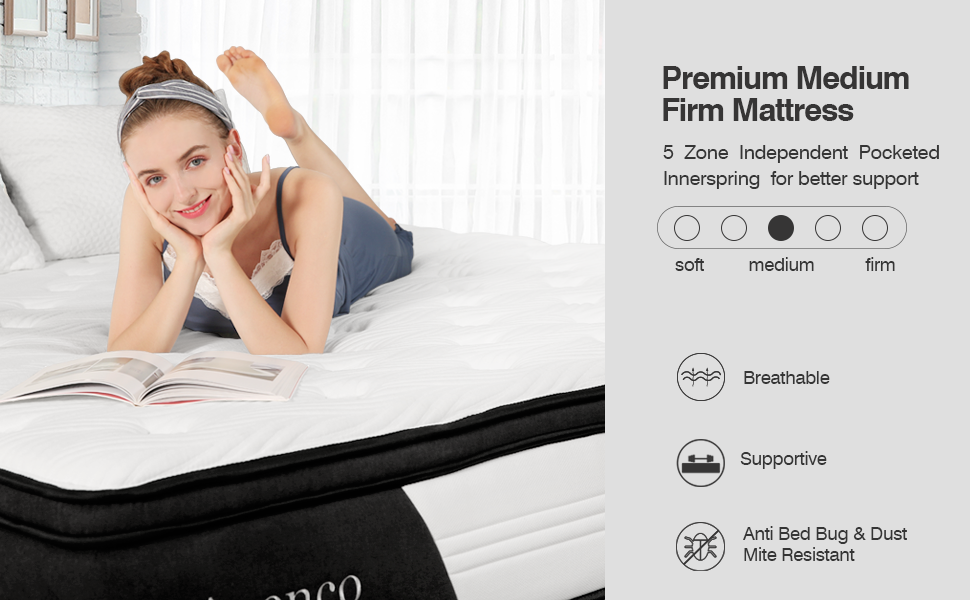 Hybrid Innerspring mattress is premium medium firm feeling for better support. Breathable
