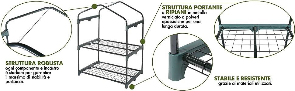 Verdelook, serra, 2 ripiani, struttura, robusta, ripiani, lunga durata, stabilità