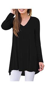 Long sleeve fall tunic blouse shirt for women soft lightweight