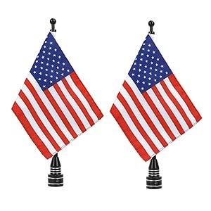 USA Flag Motorcycle Black Flagpole Mount
