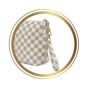 clutch purse removable strap cream checkerboard makeup make up bag toiletry cosmetic pouch large