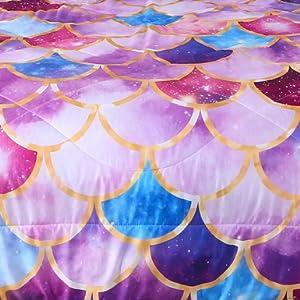 sparkle gold line bedding comforter queen girls fish scale comforter purple mermaid scale bedding