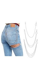 3 Pieces Jeans Chains Wallet Chain Pocket Chain Belt Chains Hip Hop Punk Pants Chain Gothic Hip Hop