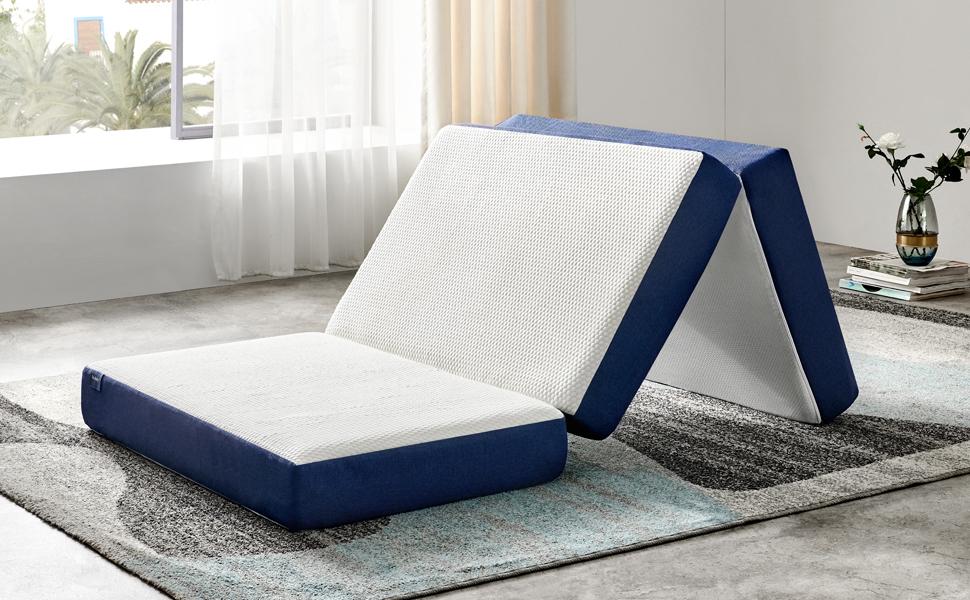 Folding Mattress Tri-fold Memory Foam Mattress Topper Play Mat Foldable Bed Camp Portable Bed