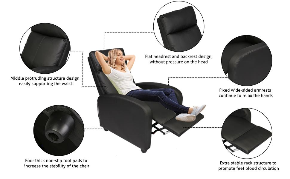 details of recliner sofa