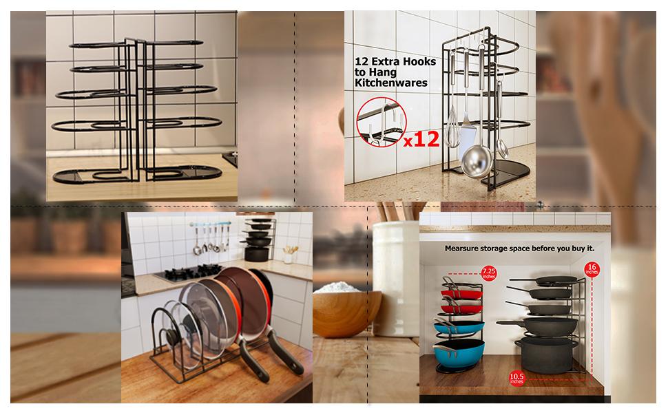 Pan Organizer 5 Tier Rack,Pack of 2