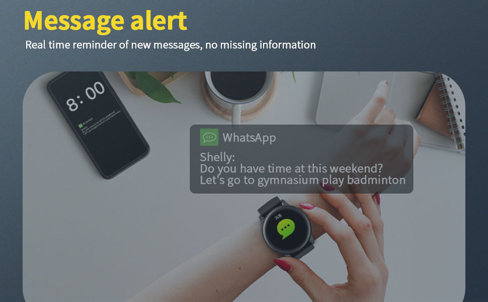 android & ios compatible smart watch with message alert