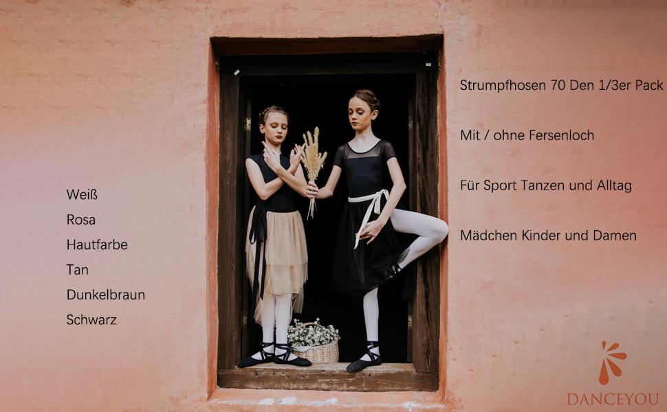 DANCEYOU Tanzstrumpfhosen Ballettstrumpfhose Medias de Danza Clásica Media Ballet Convertible