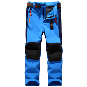 Soft Shell Windproof Waterproof Snow Ski Pants, Warm Climbing Insulated Trousers for Boys Girls