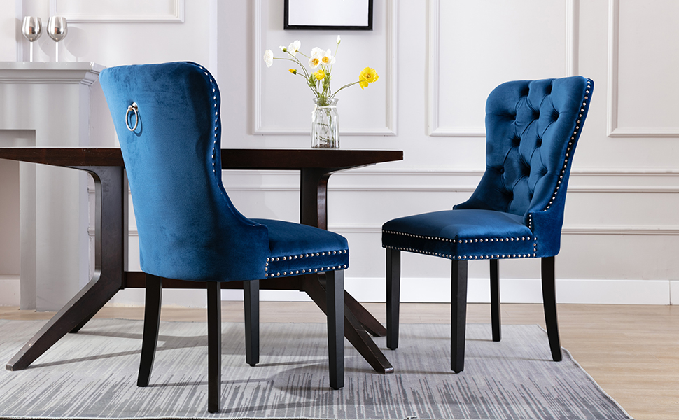 Amazon Com Kmax Velvet Elegant Upholstered Dining Chairs Fabric Armless Accent Chair With Ring Pull Set Of 2 Blue Chairs