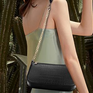 Women Shoulder Tote Handbags PU Leather Crocodile Purs